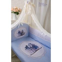 """Комплект в кроватку для новорождённого Золотой гусь """"Зайка с часиками"""", 7 предметов"""
