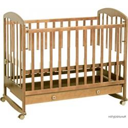 Детская кроватка для новорожденного качалка+колёсики с ящиком Фея 325