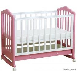 Детская кроватка для новорожденного на колёсах с качалкой и ящиком Фея 621