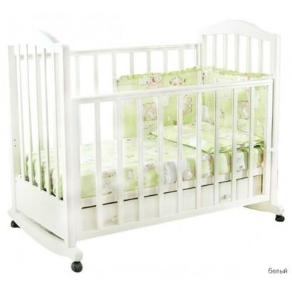 Детская кроватка для новорожденного на колёсиках Фея 633 с ящиком+качалка