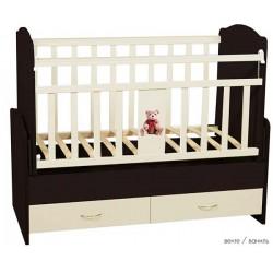 Детская кроватка для новорожденного Папа Карло Мишки поперечный маятник с ящиками