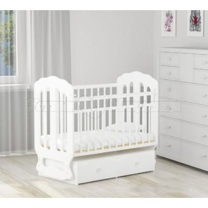 Детская кроватка для новорожденного Агат Папа Карло 2/2 с поперечным маятником и ящиками