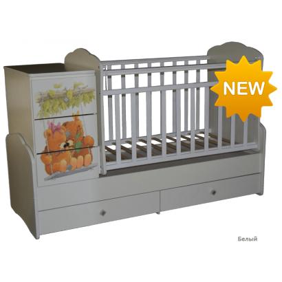 Детская кровать трансформер маятник Антел Ульяна 1 | Мишки