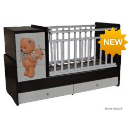 Детская кроватка трансформер с маятником и комодом Антел Ульяна 2   Мишка