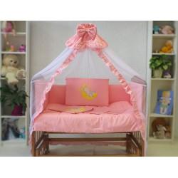 Комплект в детскую кроватку 7 предметов Монис Стиль Зайка на луне