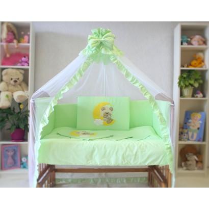 Комплект для кроватки новорождённого 7 предметов Монис стиль Мишка на луне