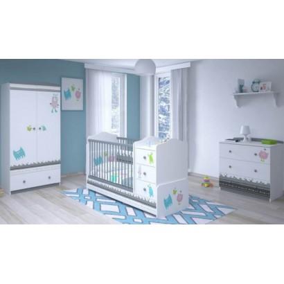 Детская комната Polini Basic Монстрики, 3 предмета: кроватка-трансформер+комод+шкаф двухсекционный