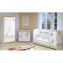 Детская комната Polini Basic Джунгли, 3 предмета: кроватка-трансформер+комод+шкаф двухсекционный