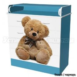 Детский пеленальный комод Мишки 4 ящика