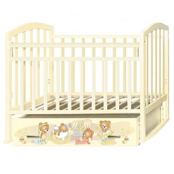 Детская кроватка Антел Алита 4 Медвежата поперечный маятник плюс ящик