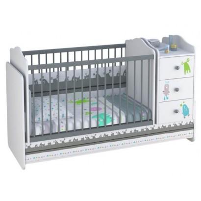 Детская кроватка для новорожденного-трансформер с комодом Polini Basic Монстрики