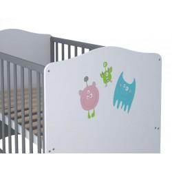 Детская кроватка для новорожденного-трансформер Polini Basic Монстрики 140*70см