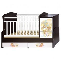 Детская кроватка-трансформер Антел Ульяна 1 Медвежата (поперечный маятник)