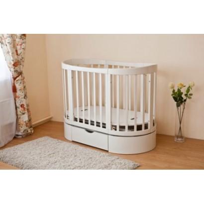Детская овальная кроватка-продольный маятник Можга Красная звезда Паулина С324