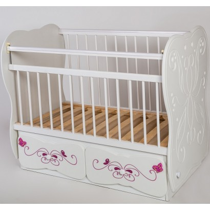 Детская кроватка для новорожденного Сафаня №6 поперечный маятник + закрытый ящик