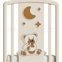 Кроватка для новорожденного Angela Bella Жаклин Мишка с соской (качалка + колёса + ящик)