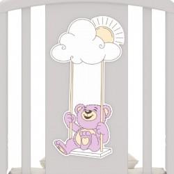 Кроватка для новорожденного Angela Bella Жаклин Мишка на качелях (универсальный маятник+ящик)