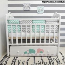 Детская кроватка для новорожденного ByTwinz Мэри поперечный маятник + ящик
