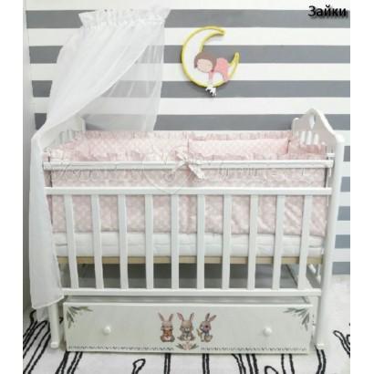 Детская кроватка для новорожденного ByTwinz Зайки поперечный маятник + ящик