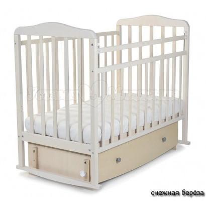 Детская кроватка для новорожденного СКВ Митенька 16300* поперечный маятник с ящиком