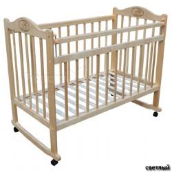 Детская кроватка для новорожденного качалка на колёсиках Мой малыш 01