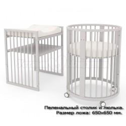 Детская круглая кроватка трансформер для новорожденного Гандылян Бэтти (продольный маятник)