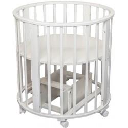 Детская круглая кроватка для новорожденного Агат Папа Карло 1/4 с поперечным маятником