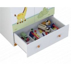 Шкаф для детской комнаты двухсекционный Polini Basic Джунгли