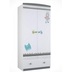 Шкаф для детской комнаты двухсекционный Polini Basic Монстрики