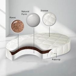 Детский матрас в круглую кроватку Nuovita BabySleep Nido Magia Form 75 см кокосовая койра/natural form