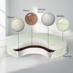 Детский матрас в круглую кроватку Nuovita BabySleep Nido Magia Latex кокосовая койра/латекс 75 см