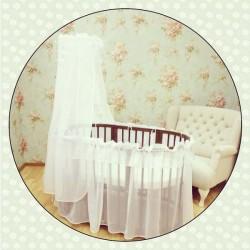 Комплект для круглой и овальной кроватки Incanto Двойка (балдахин+универсальная юбка)