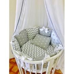 Универсальный комплект для круглой и овальной кроватки Incanto Мозайка (11 предметов) бязь