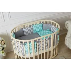 Универсальный набор из двух комплектов Incanto для круглой и овальной кроватки (10 предметов) бязь