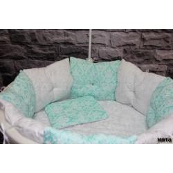 Универсальный комплект для круглой и овальной кроватки Incanto Зефир (11 предметов) бязь
