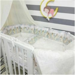 Универсальный комплект для круглой и овальной кроватки 7 предметов ByTwinz Ангелы сатин