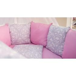 Универсальный комплект для круглой и овальной кроватки 7 предметов ByTwinz Дамаск поплин