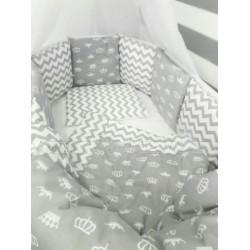 Универсальный комплект для круглой и овальной кроватки 7 предметов ByTwinz Короны хлопок