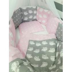 Универсальный комплект для круглой и овальной кроватки 7 предметов ByTwinz Совята хлопок