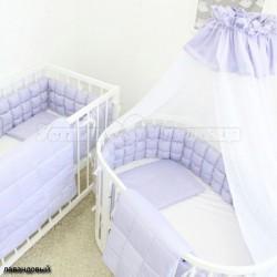 Универсальный комплект для круглой и овальной кроватки ComfortBaby Colorit HappyFamily Базовый 7 предметов сатин