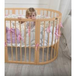 Универсальный авторский комплект СomfortBaby Облака в круглую и овальную кроватку или двуспальный манеж 7 предметов сатин