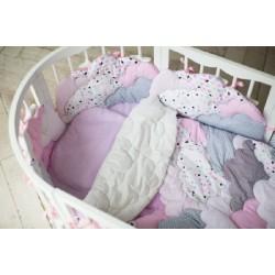Авторский универсальный комплект в круглую и овальную кроватку СomfortBaby Розовые облака 7 предметов сатин