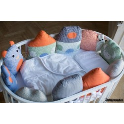 Универсальный комплект для круглой и овальной кроватки СomfortBaby Colorit Зверюшки 7 предметов сатин