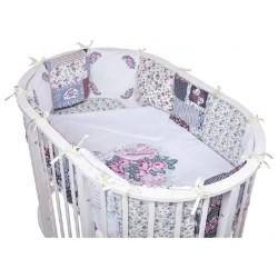 Комплект универсальный для стандартной и овальной кроватки BamBola Прованс (6 предметов) бязь