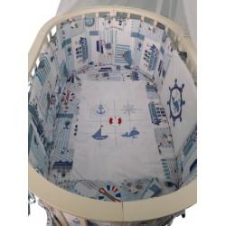 Универсальный комплект в круглую и овальную кроватку Селена 25.4 ОК 8 предметов бязь