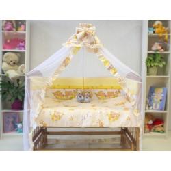 Набор в кроватку новорождённого Монис стиль Мишки в гамаке 7 предметов