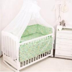 Комплект в кроватку Крошкин дом Совушки на ветках 6 предметов 120х60см