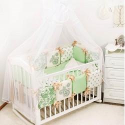 Комплект в детскую кроватку 18 предметов Крошкин дом Узоры с подушечками