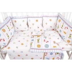Бампер в круглую кроватку Сонный гномик Маяк 10 подушек