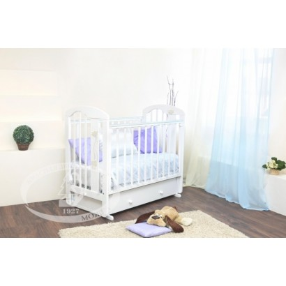 Кроватка для новорожденного Можга Агата С-719 Красная звезда поперечный маятник + закрытый ящик
